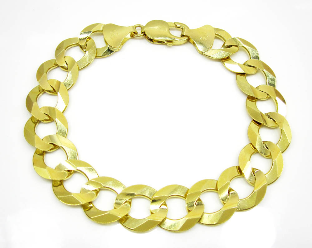 10k yellow gold thick cuban bracelet 9 inch 14.00mm