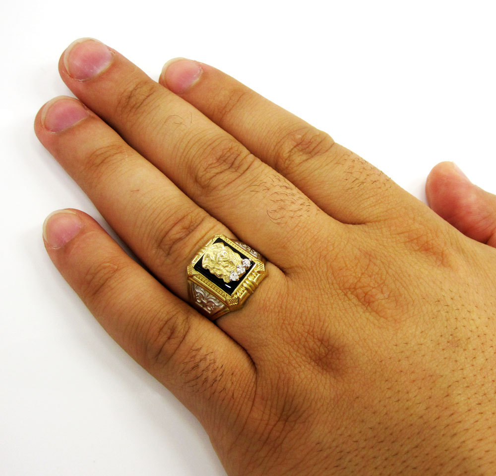 Mens 10k yellow gold jesus face cz ring 0.15ct