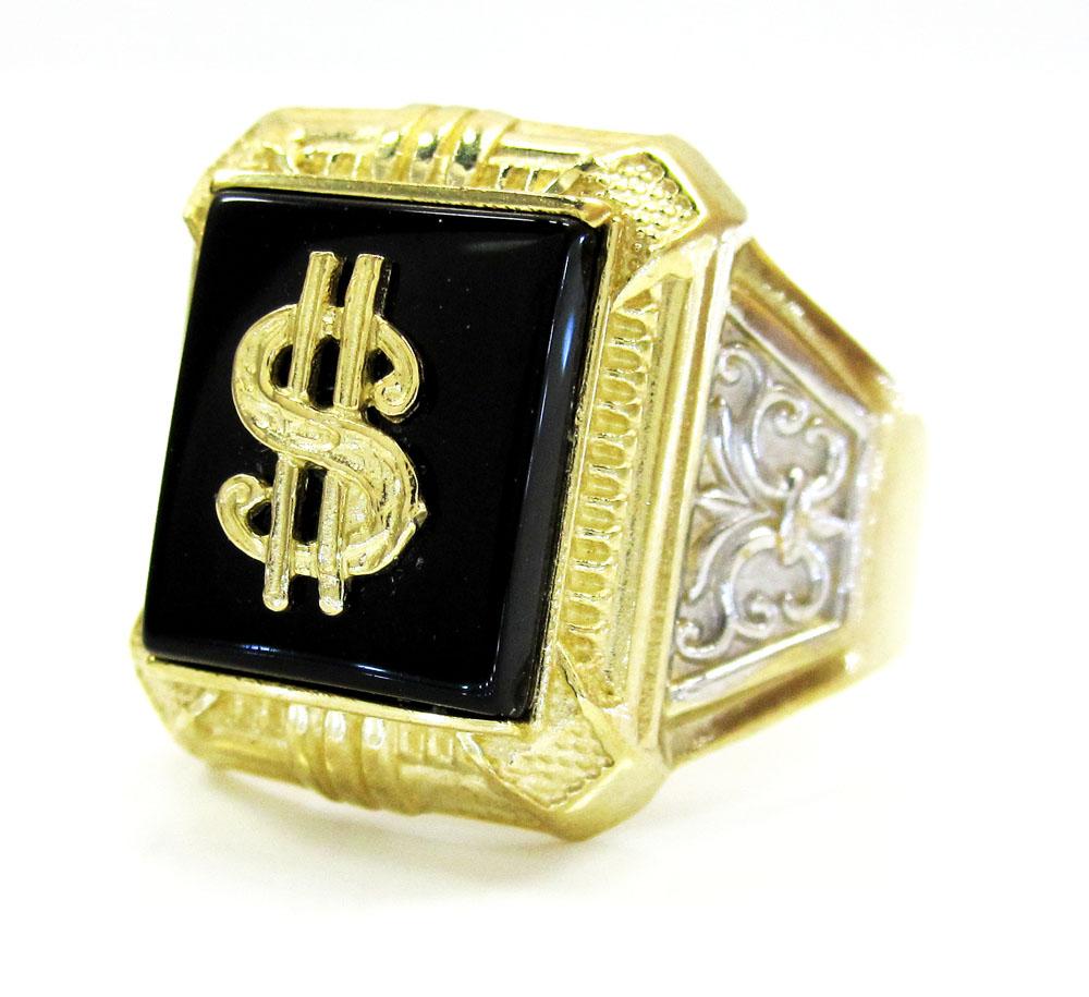Mens 10k yellow gold dollar sign ring