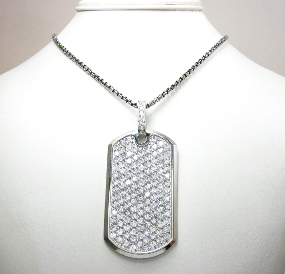 Mens 10k gold cz dog tag pendant 5.00ct