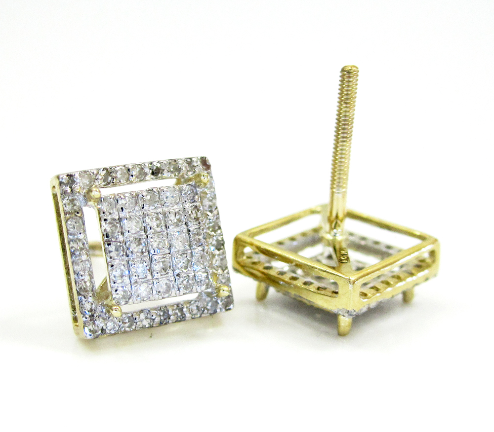 10k gold diamond 3d frame earrings 0.50ct