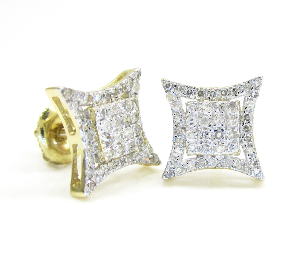 10k gold diamond 3d kite earrings 0.43ct