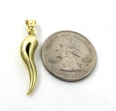 14k yellow gold italian horn pendant
