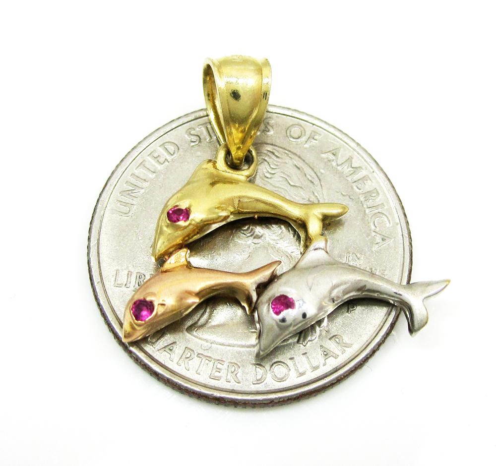 14k tri color gold dolphin pendant