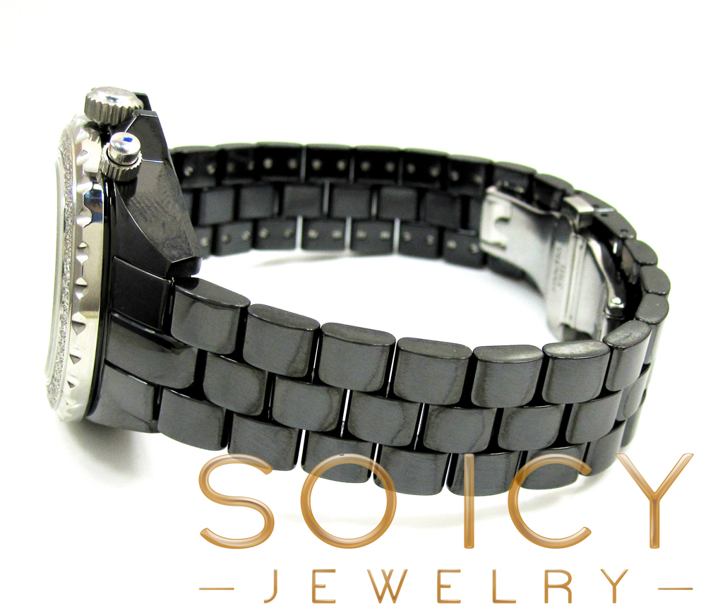Ladies techno jpm black ceramic diamond watch 1.25ct