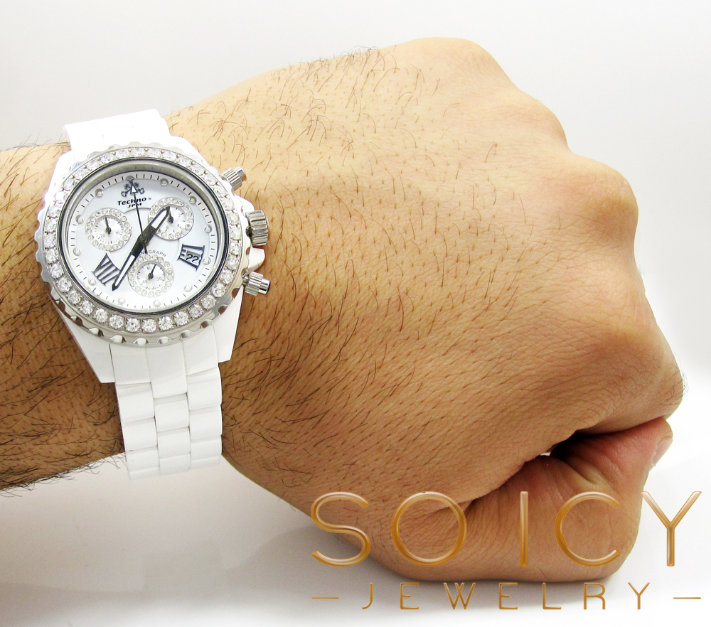 Mens techno jpm white ceramic diamond 38mm watch 2.75ct