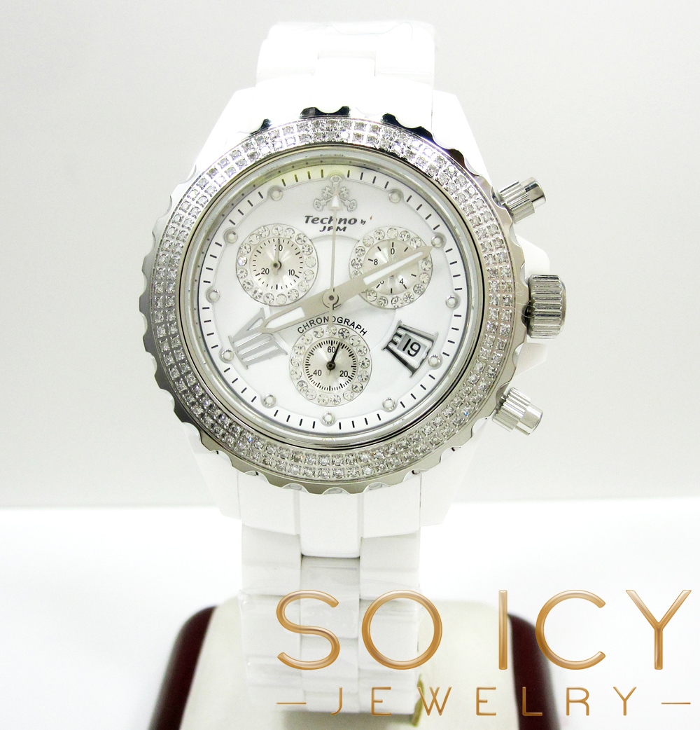 Mens techno jpm white ceramic diamond 38mm watch 1.35ct