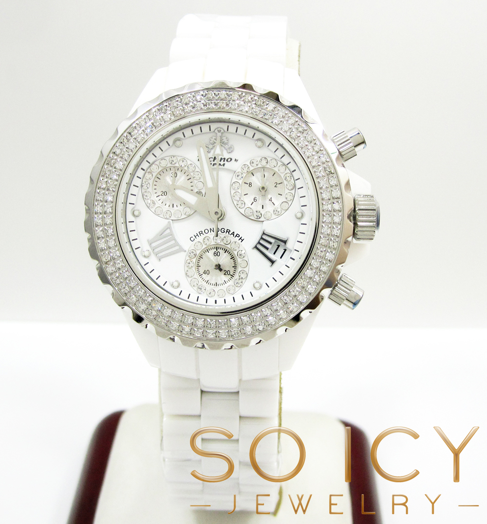 Ladies 35mm techno jpm white ceramic diamond watch 1.25ct