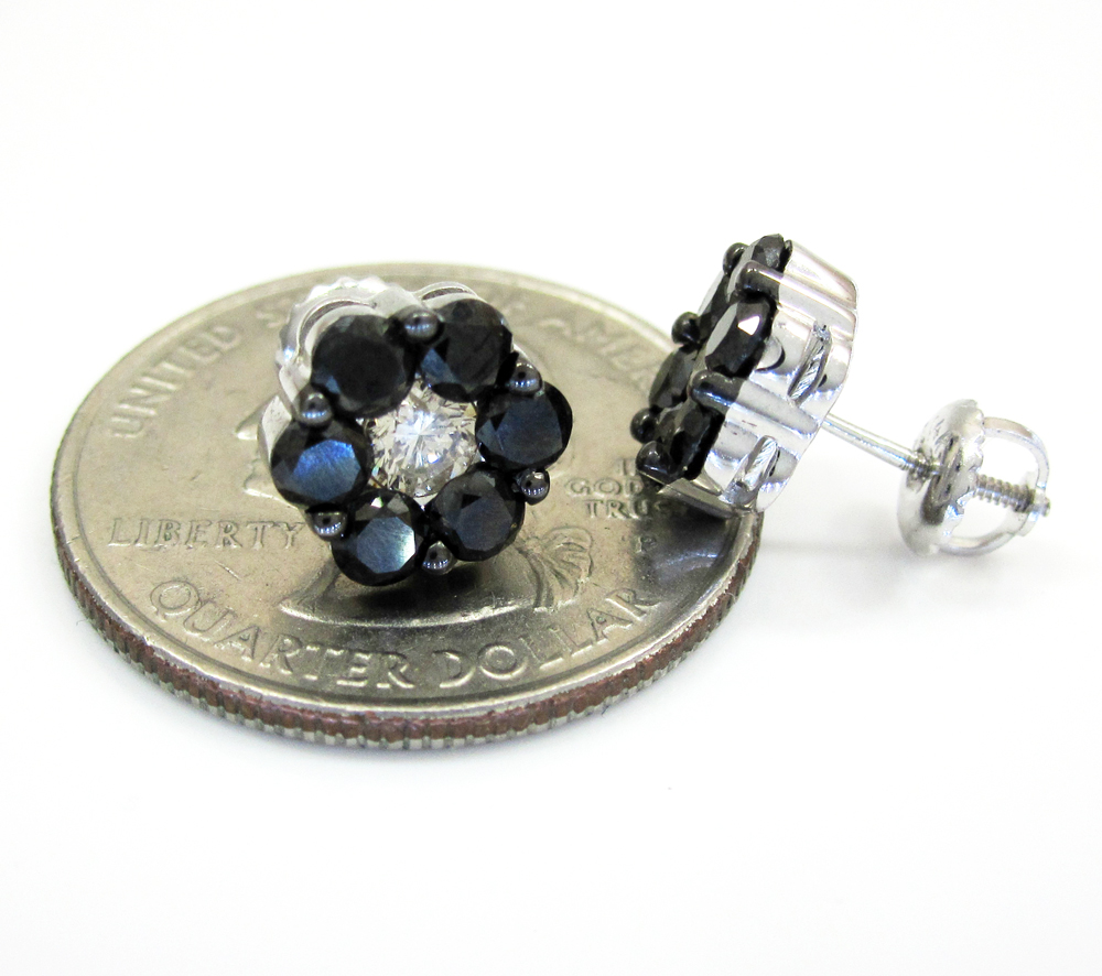 14k black gold black & white diamond cluster earrings 2.75ct