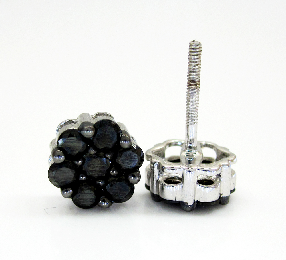 14k white gold black diamond cluster earrings 1.00ct