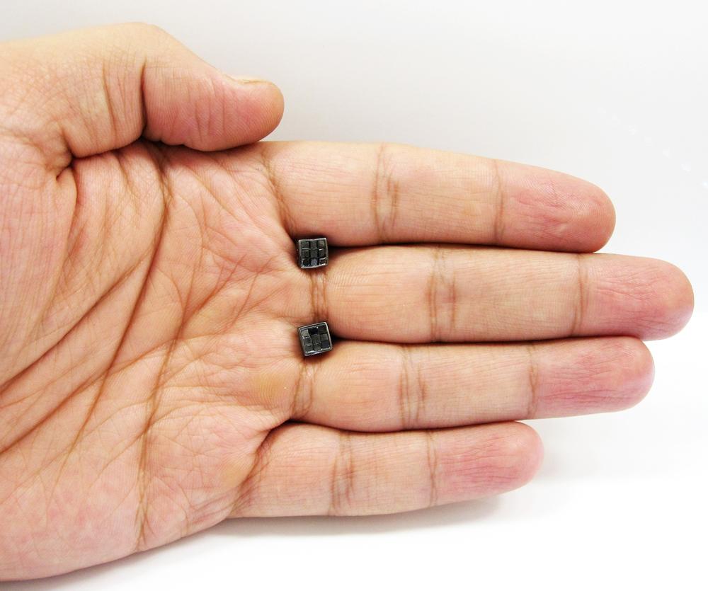 10k black gold black diamond cube earrings 1.00ct