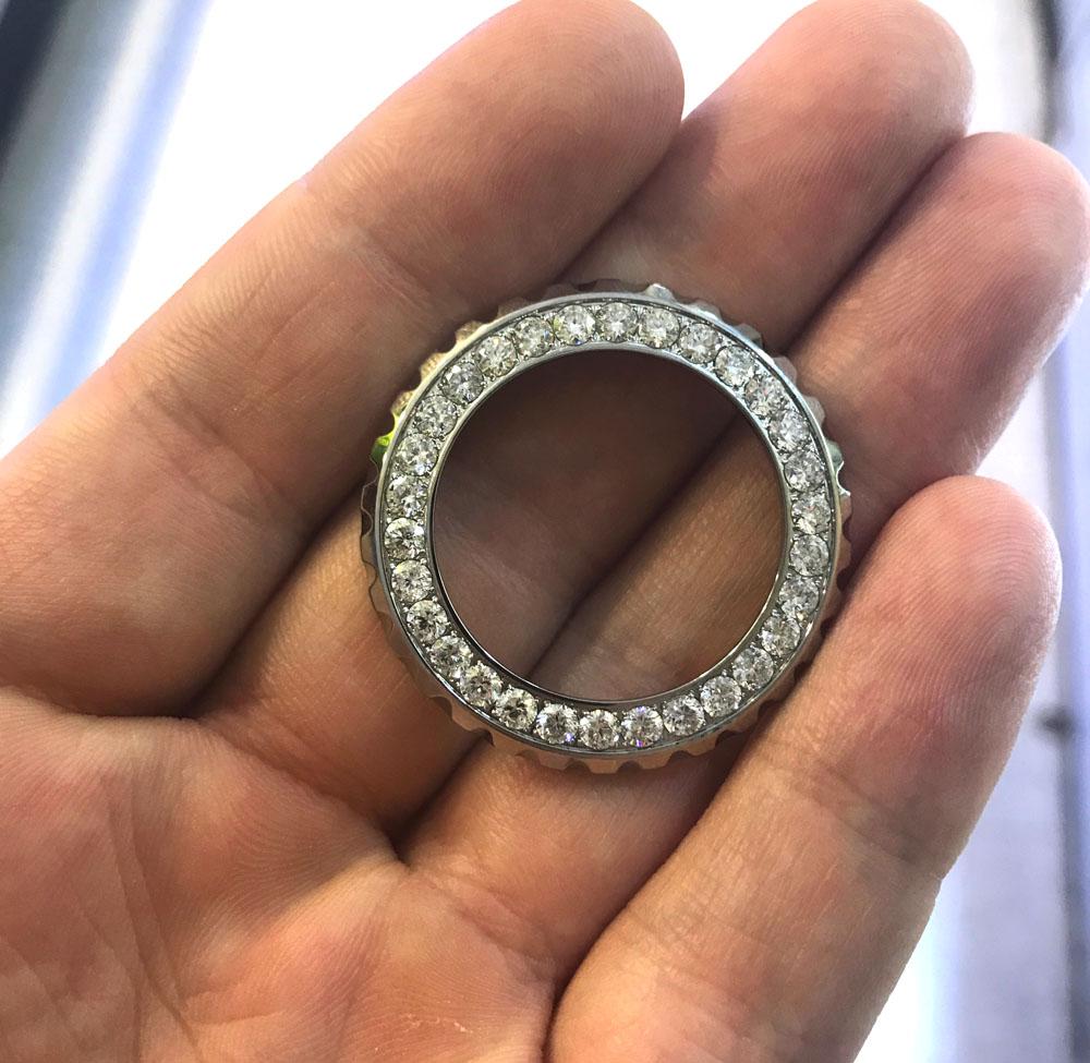 Ladies custom made chanel j12 white stainless steel diamond bezel 2.00ct