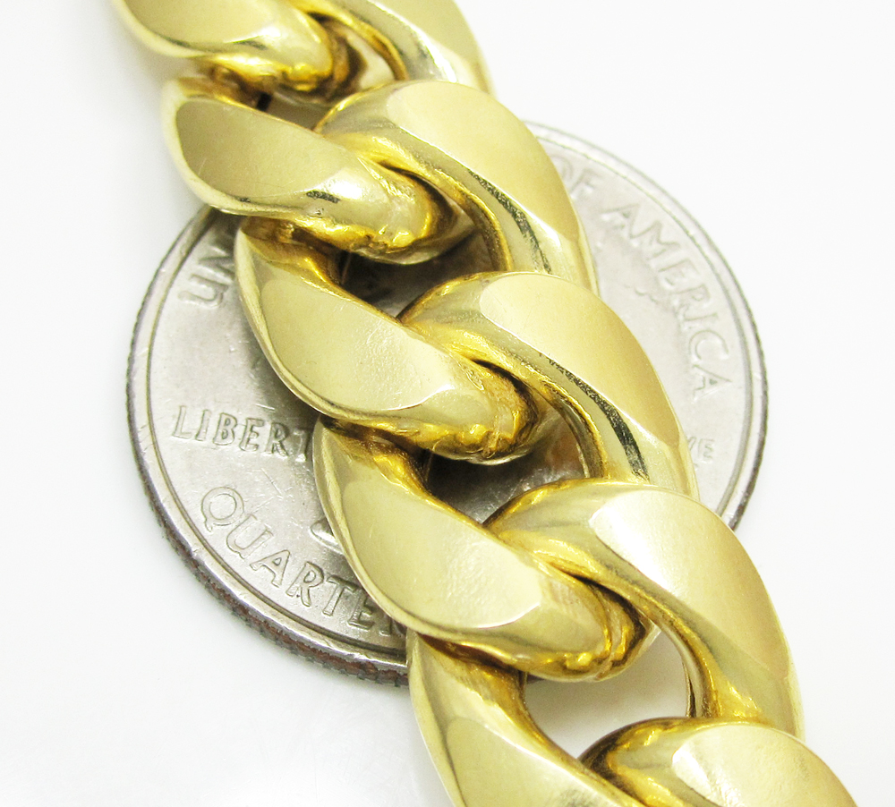 gold rounded yellow product hollow link curb wide bracelet