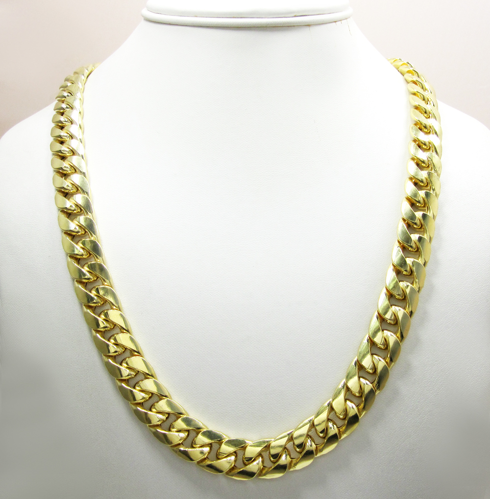 61c9b93d08be5 Mens 10K Yellow Gold Hollow Puffed Cuban Miami Chain 40 Inch 13mm
