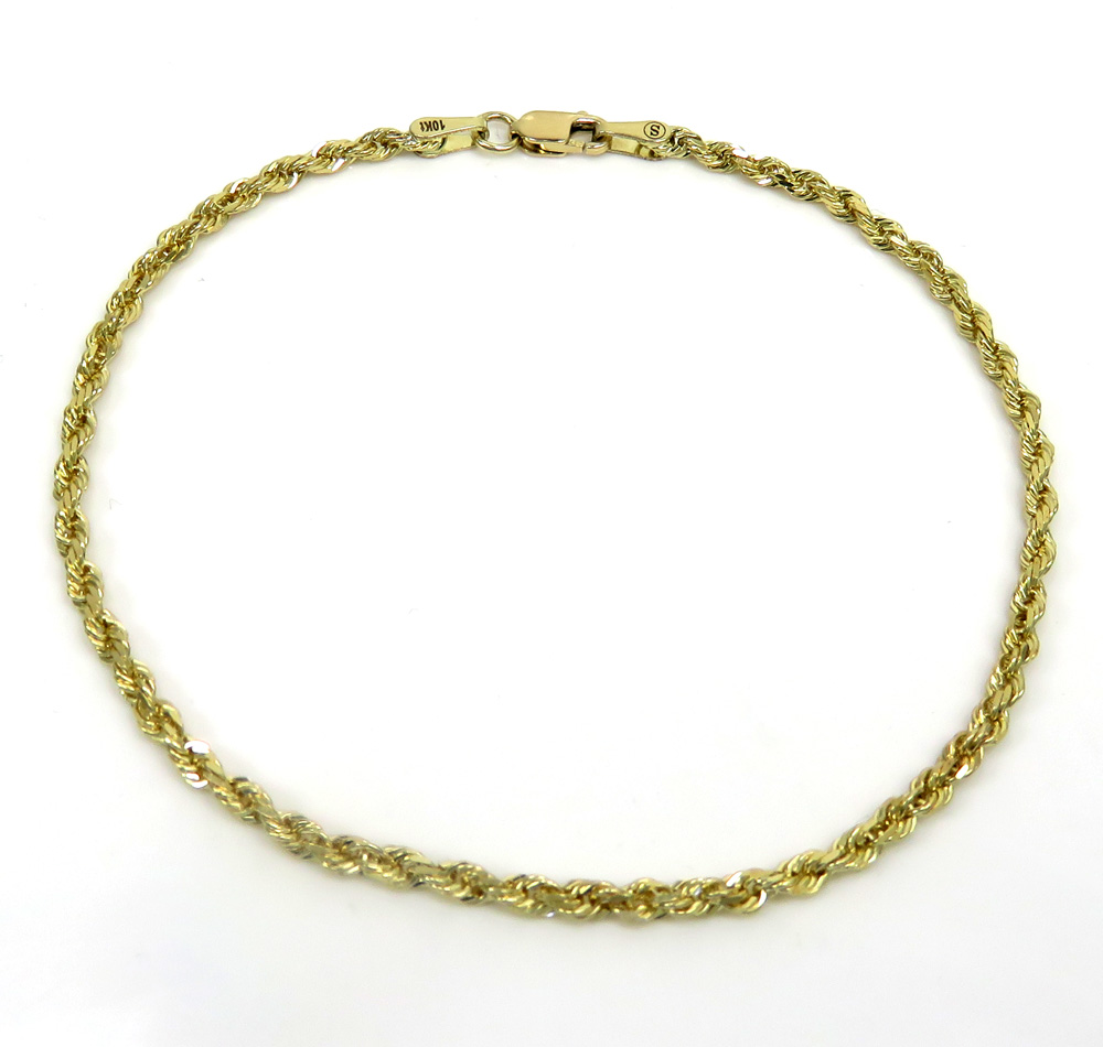 10k yellow gold solid rope unisex bracelet 8 inch 2mm