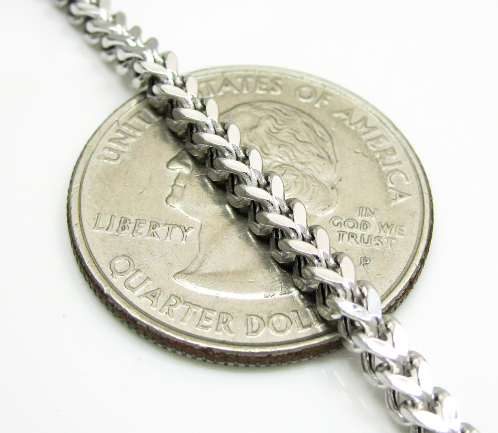 Mens 10k white gold franco chain 18-24 inch 2.70mm