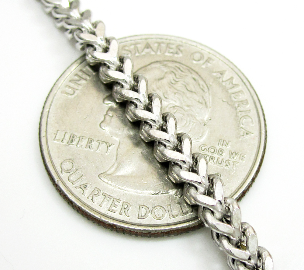 Mens 10k white gold franco chain 18-24 inch 3.50mm