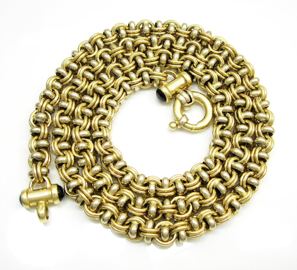 14k solid two tone gold fancy italian chain 24 inch 68mm aloadofball Image collections