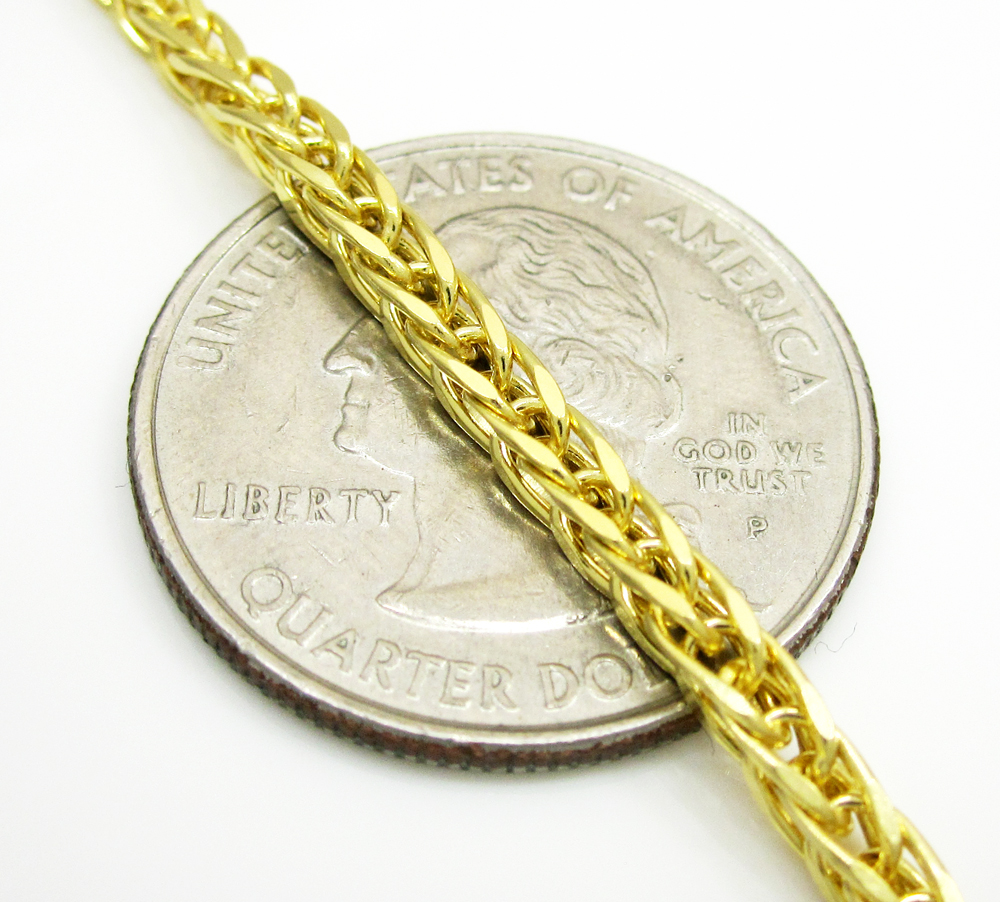 14k solid yellow gold wheat link chain 18 inch 2.5mm