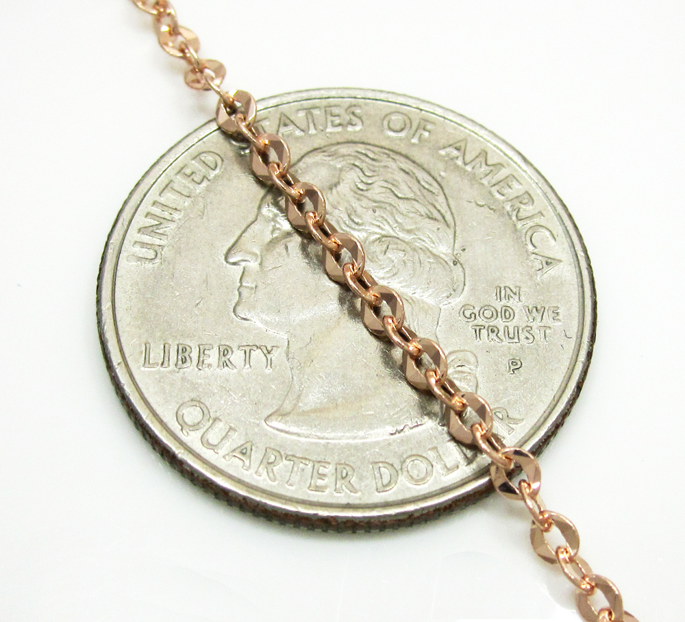 14k solid rose gold diamond cut circle link chain 16-24 inch 2.2mm