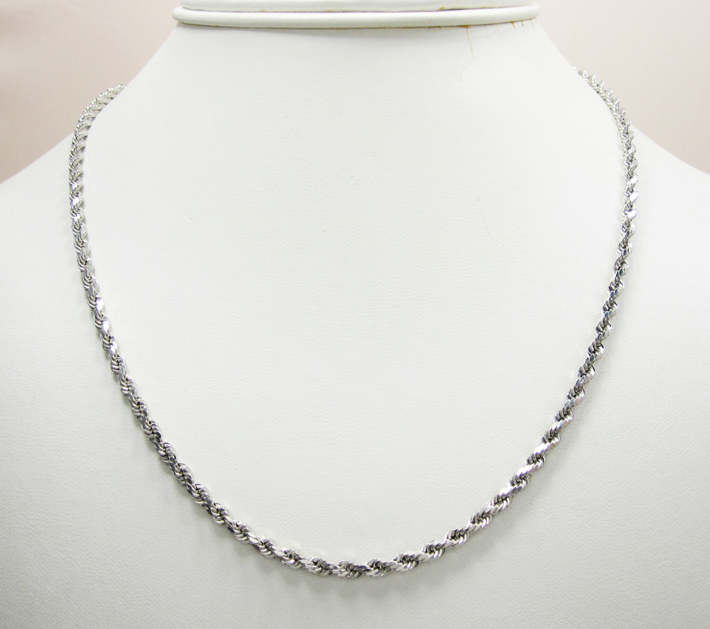 10k White Gold Cable Chain Necklace Rope Chain Necklace 10K5RW