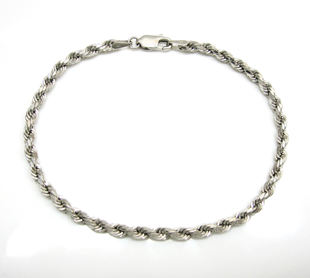 14k hollow white gold rope bracelet 7.25 inch 3mm
