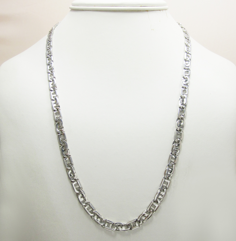 14k solid white gold tiger eye link chain 22 inch 6mm
