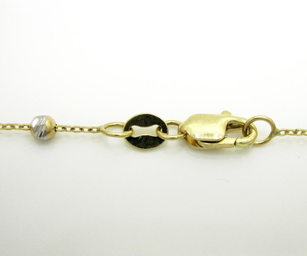 14k gold diamond cut bead chain 16-20 inch 2.5mm