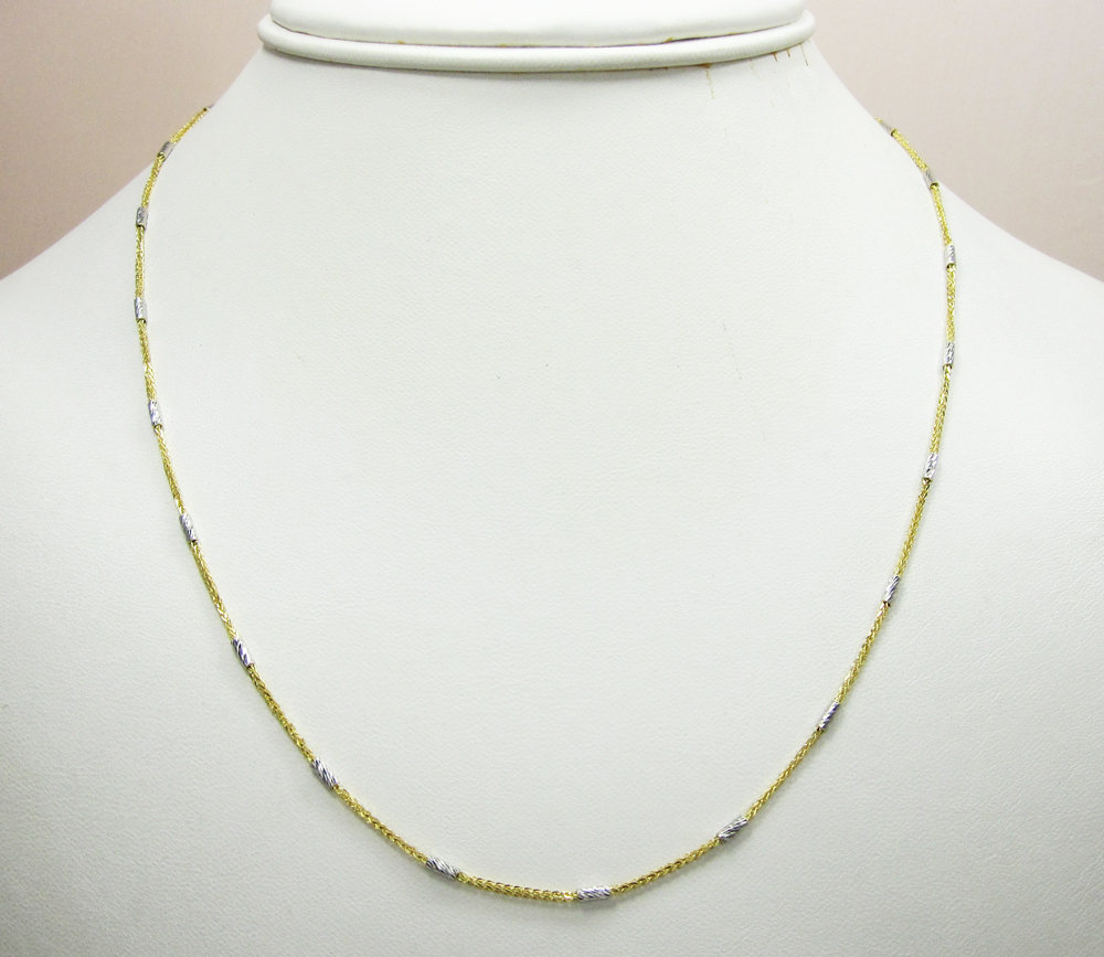 14k gold diamond cut wheat link chain 16-20 inch 1.5mm