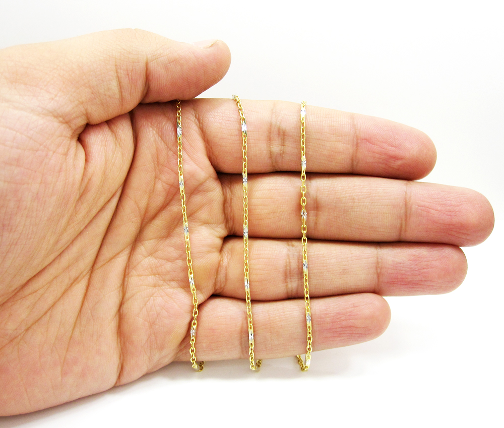 14k gold diamond cut circle link chain 16-24 inch 2mm