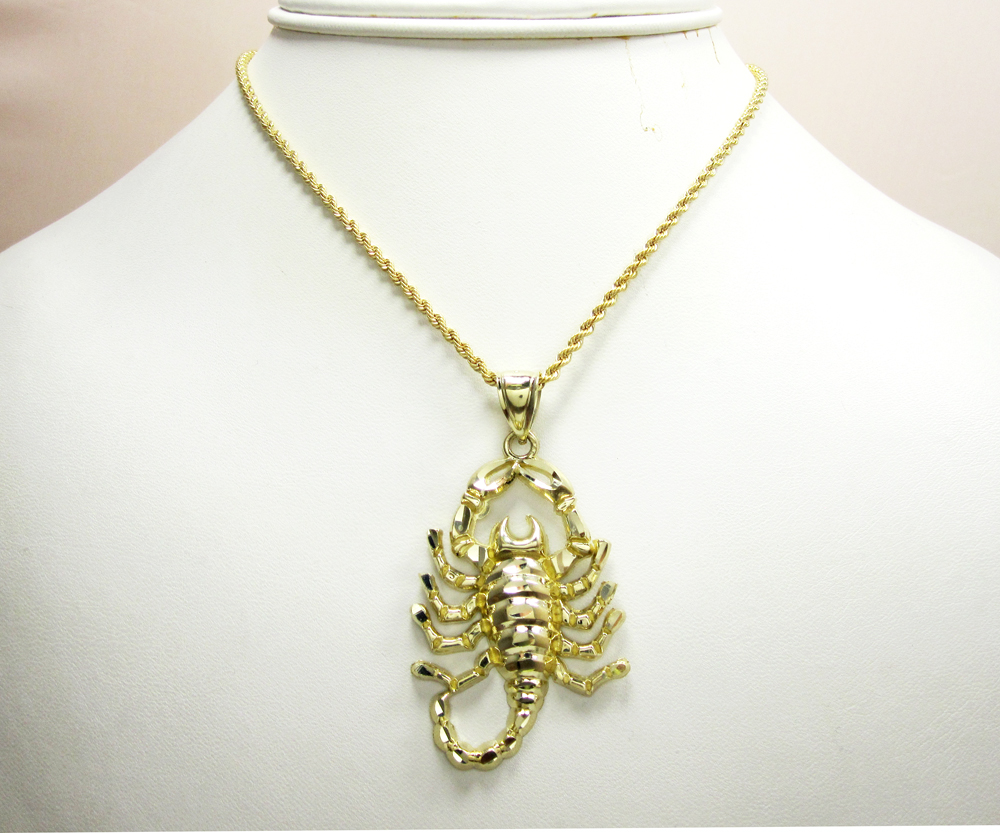 Solid yellow gold scorpion pendant 10k solid yellow gold scorpion pendant mozeypictures Images
