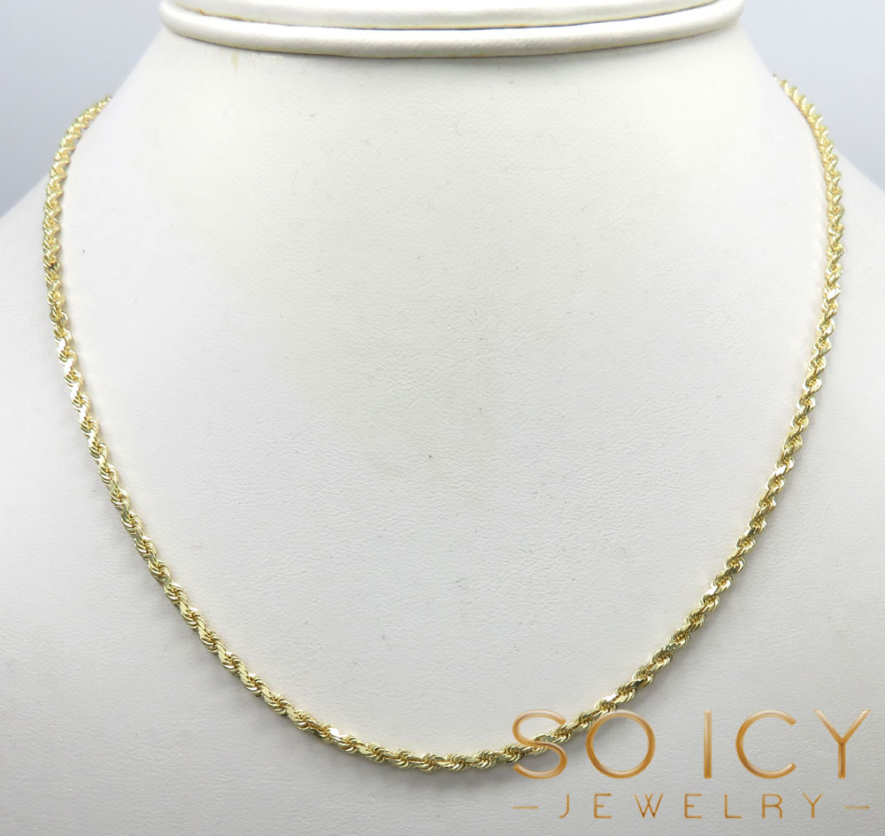 10k yellow gold solid rope chain 16-24 inch 2.30mm