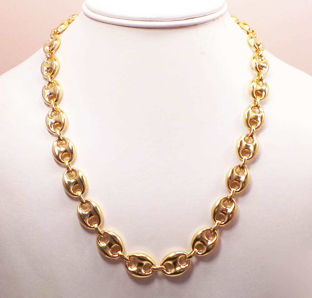 10k yellow gold gucci link chain 22-36 inch 12mm