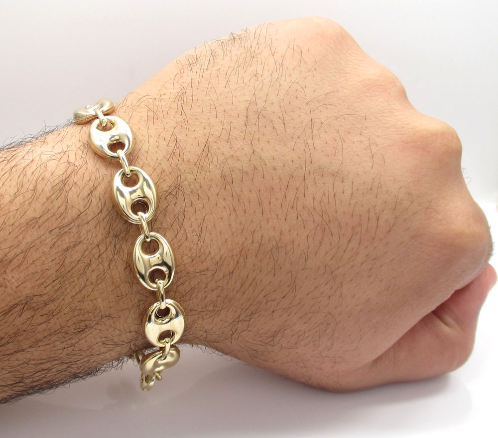 10k yellow gold gucci link bracelet 9 inch 12mm