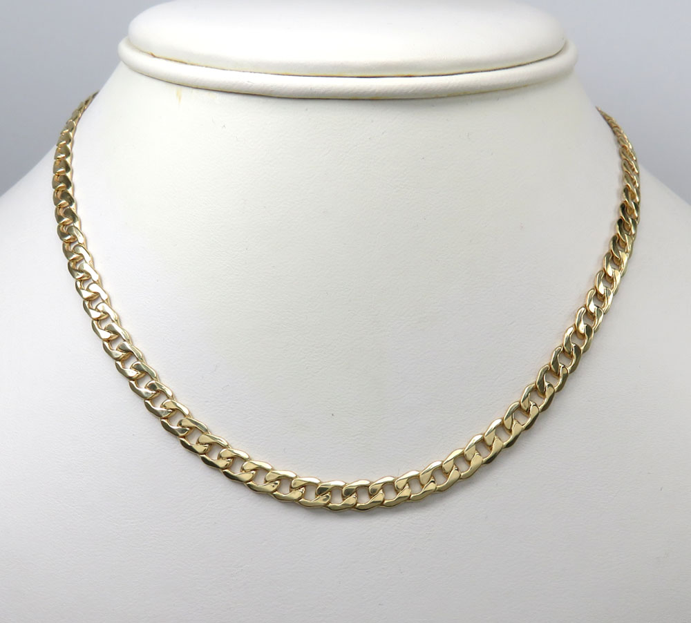 10k yellow gold hollow cuban chain 18-26 inch 5.20mm