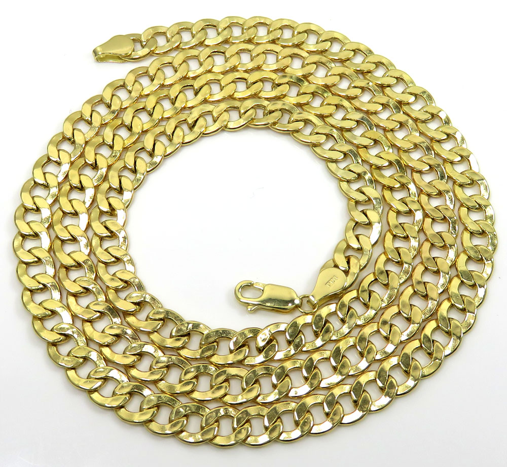 10k yellow gold hollow cuban chain 20-30 inch 6.50mm