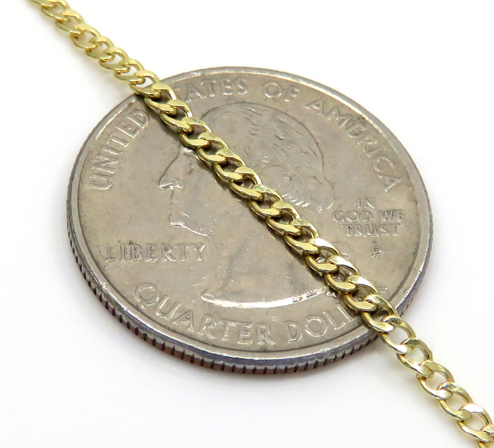 10k yellow gold skinny hollow miami cuban chain 18-24 inch 2mm