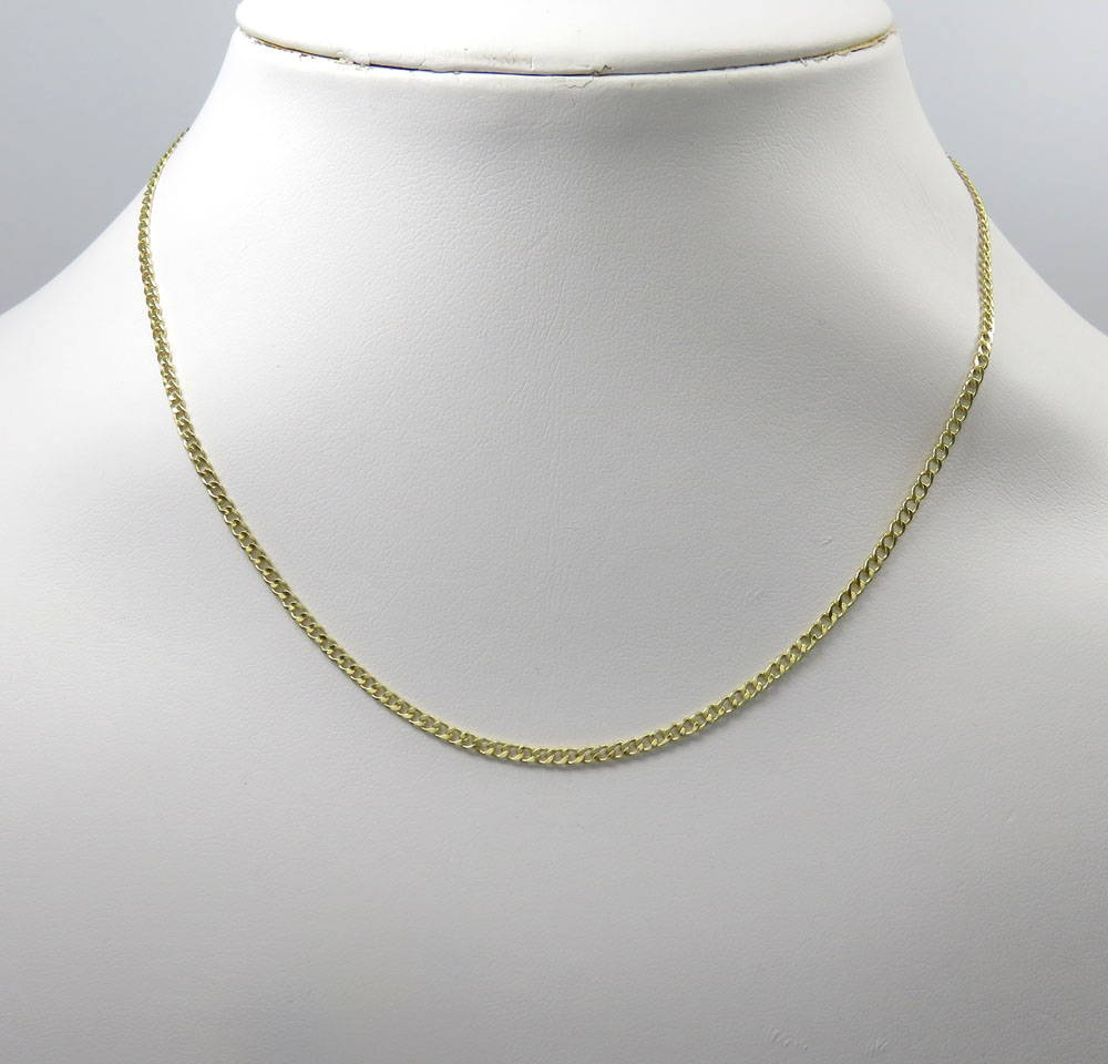 """2 MM 10K Yellow Gold Hollow Cuban Chain 16/"""" 18/"""" 20/"""" 22/"""" 24/"""" Inches"""