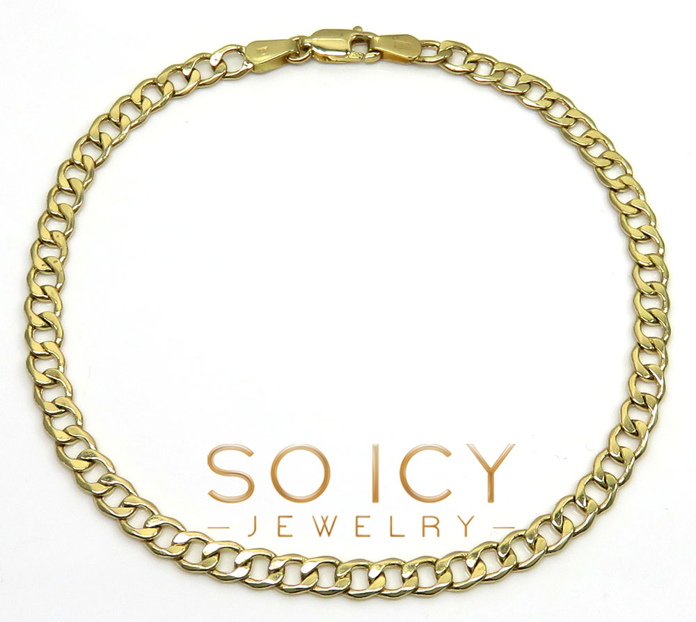 10k yellow gold cuban bracelet 8 inch 4.3mm