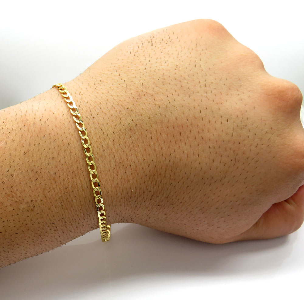 10k yellow gold diamond cut cuban bracelet 7 inch 3.5mm