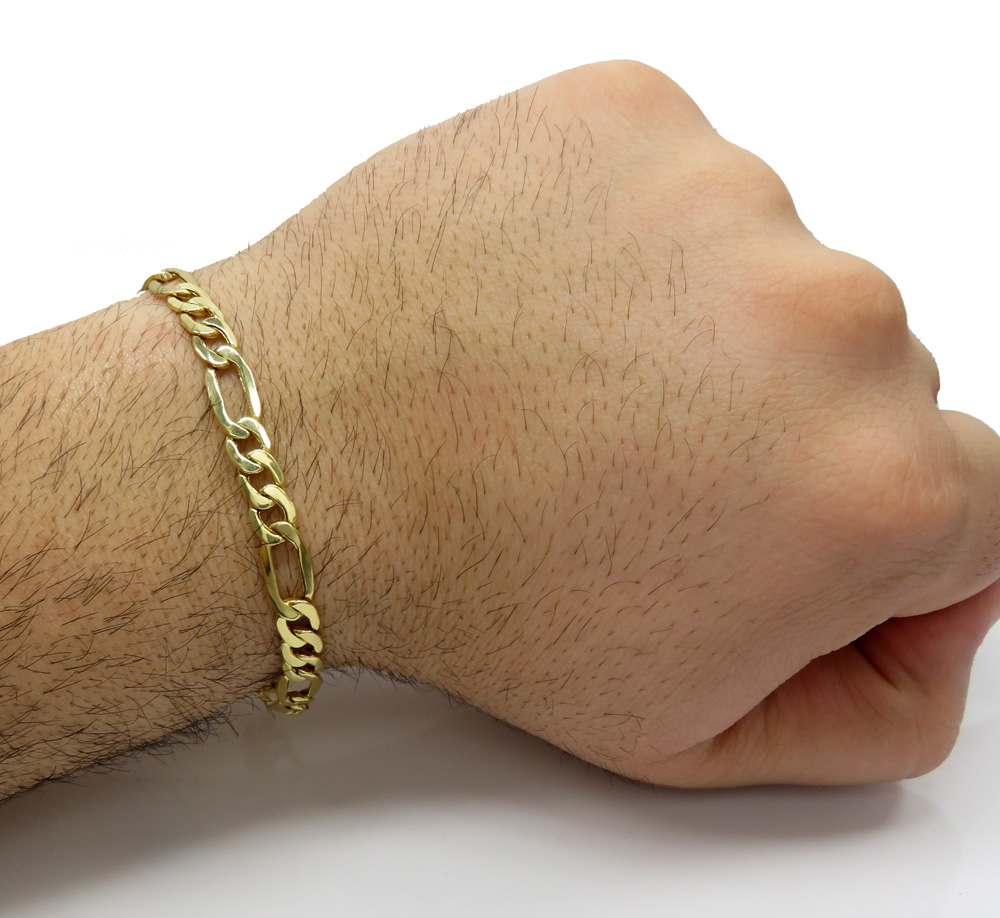 10k yellow gold thick figaro bracelet 8.50 inch 6.5mm