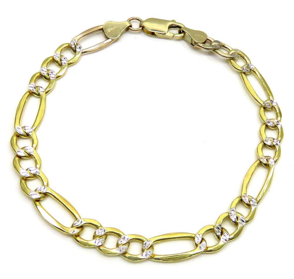 10k yellow gold thick diamond cut figaro bracelet 8 inch 6.8mm