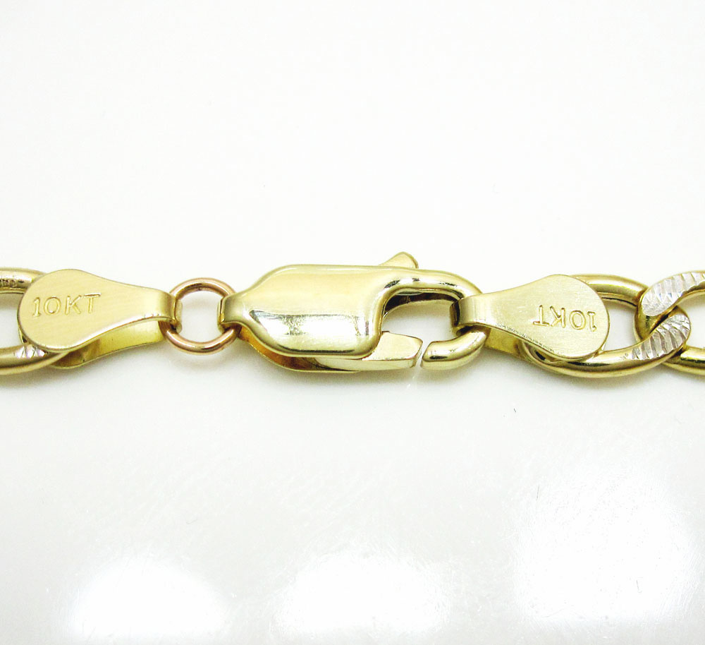 10k yellow gold diamond cut figaro bracelet 8 inch 5.0mm