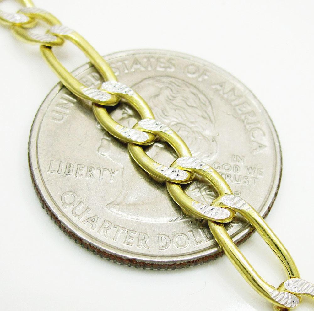 10k yellow gold diamond cut figaro bracelet 8 inch 5.0mm