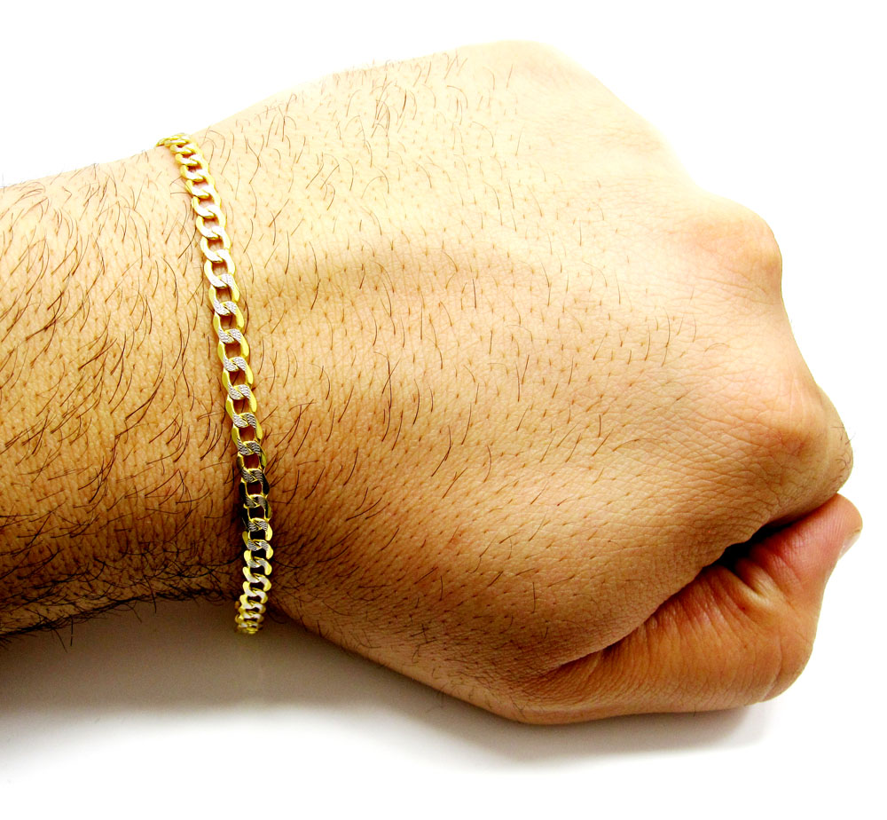 10k yellow gold two tone diamond cut cuban bracelet 8 inch 4.4mm