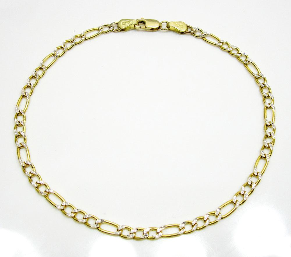 10k yellow gold two tone diamond cut figaro bracelet 8 inch 3.2mm