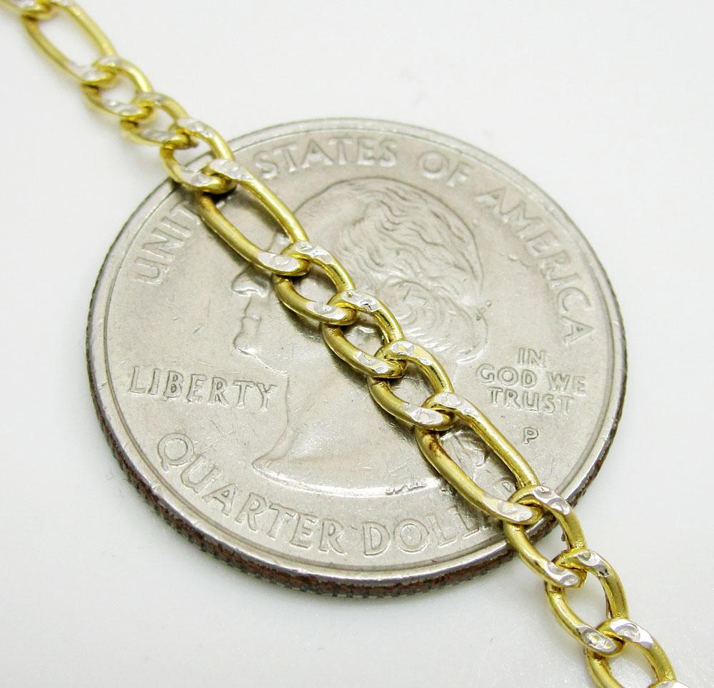 10k yellow gold two tone diamond cut figaro bracelet 8 inch 3.3mm
