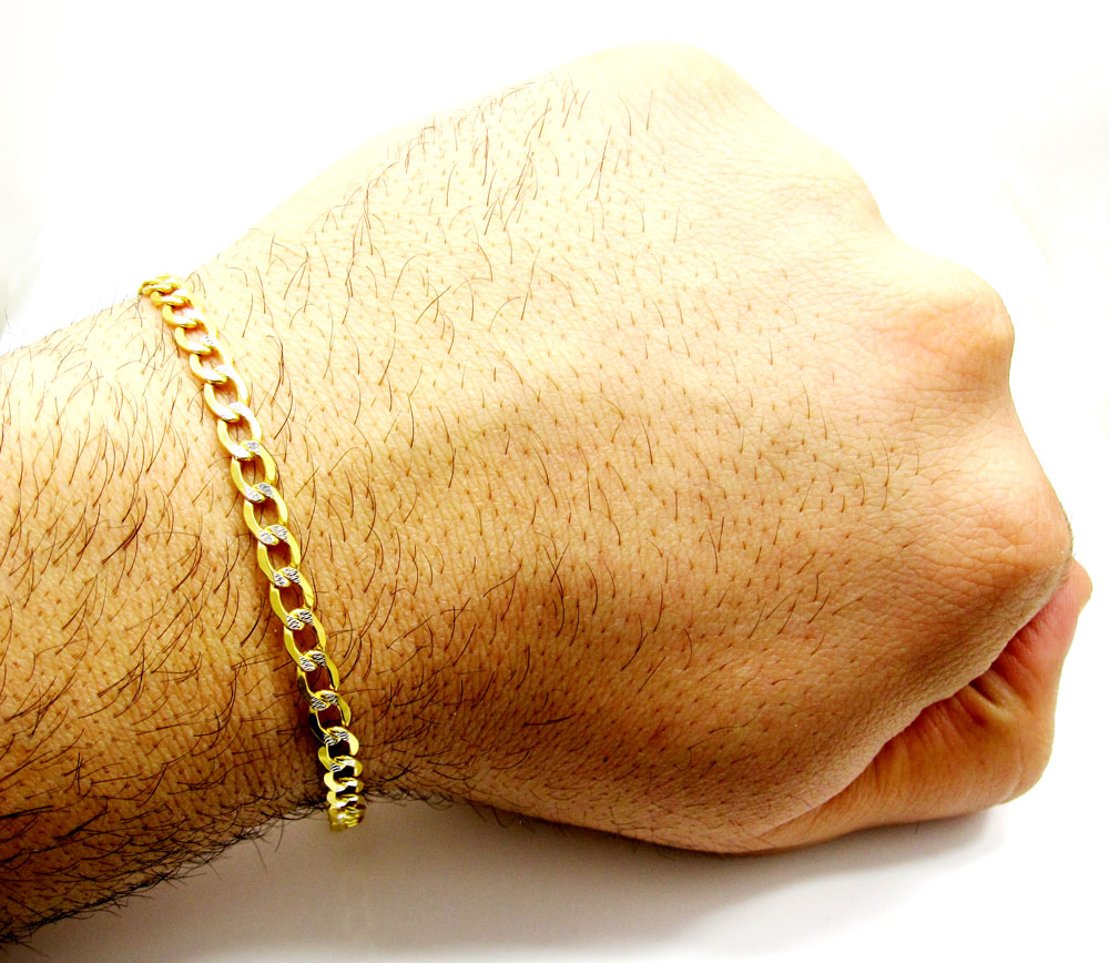 womens hollow gold rope men yellow real chain diamond cut itm bracelet