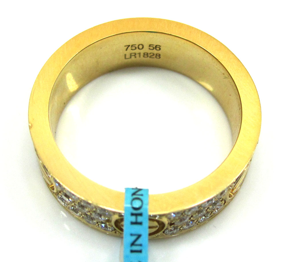 18k gold diamond unisex screw band ring 1.10ct