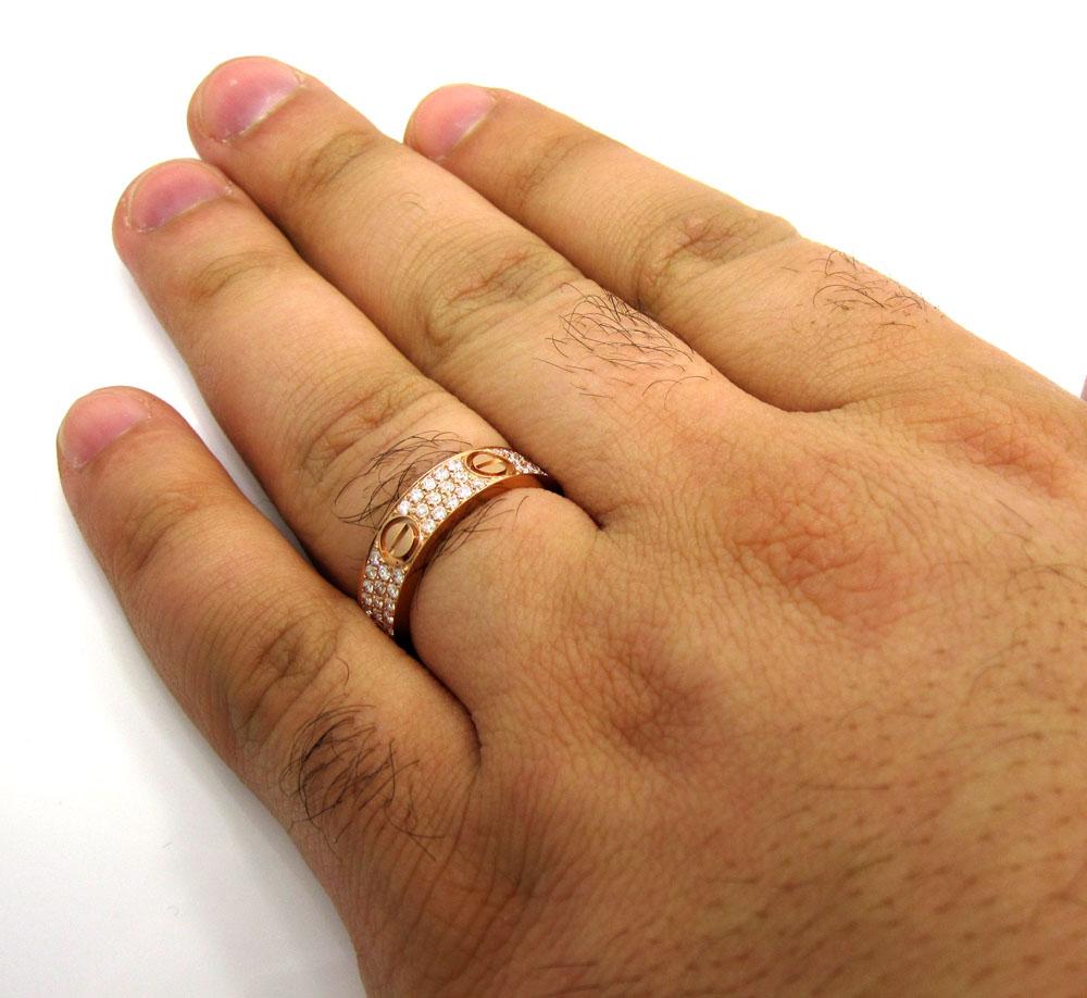 18k gold diamond unisex screw band ring 1.10ct